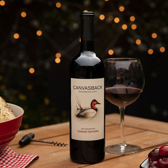 Canvasback Wine on  an outdoor table