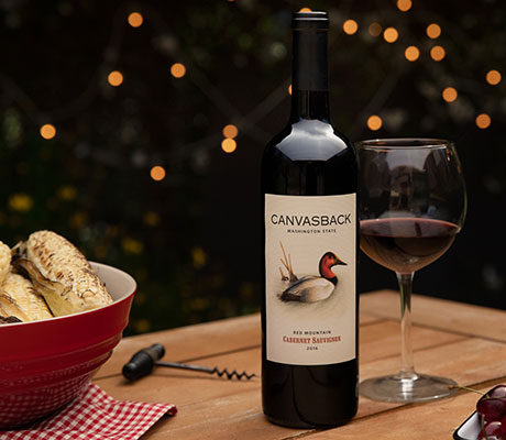 Canvasback Cabernet on outdoor table