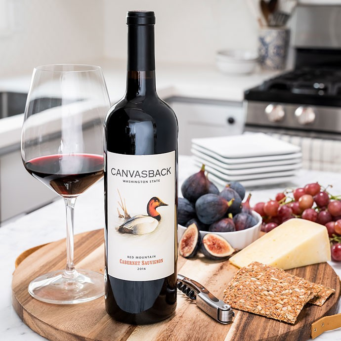 Canvasback Cabernet with cheese