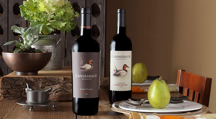 Table setting with 2 Canvasback wines