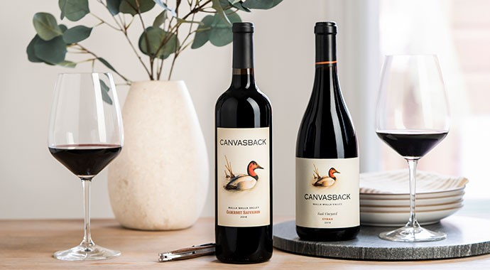 Canvasback Cabernet and Syrah on a summer table
