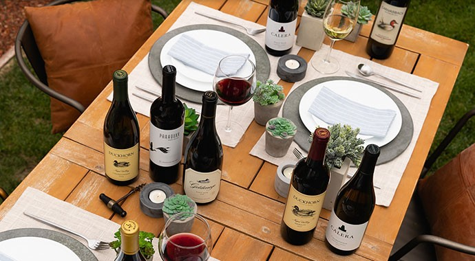 Duckhorn Portfolio wines an outdoors table