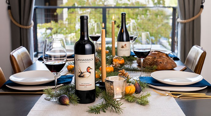 Canvasback Cabernet and Syrah on a Holiday table