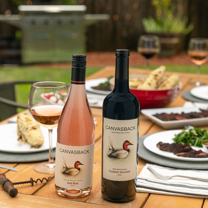 Canvasback wines on an outdoor table