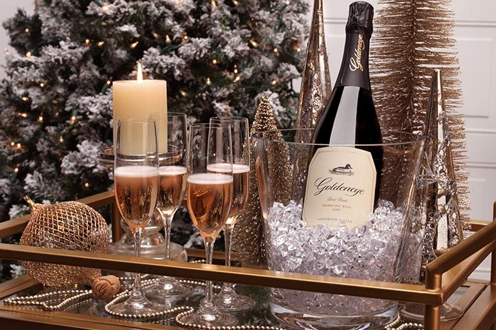 Goldeneye Sparkling on a bar cart for the holidays